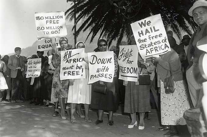 African women organized vigorous anti-pass demonstrations in the 1950s.